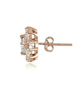 Hoops Loops Sterling Zicronia Baguette Cut in Women's Stud Earrings