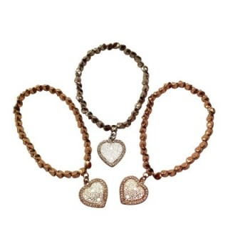 EverKid Elegant Bracelets with Open Heart Charms- set of 3 - Multi-Faceted Copper Beads on Stretch Cord - C8124U9YBSF