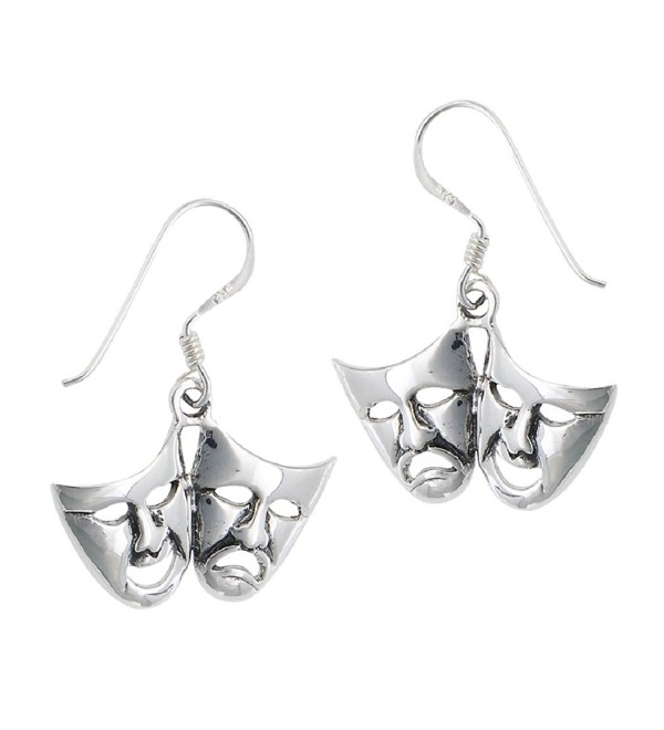 .925 Sterling Silver Comedy Tragedy Dangle Earrings - CS11AP01XWZ