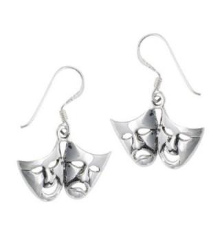 .925 Sterling Silver Comedy Tragedy Dangle Earrings - CS11AP01XWZ
