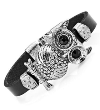 Stunning Leather Crystal Black Owl Cuff Bracelet (Silver Color) - CV11K3BLPM5