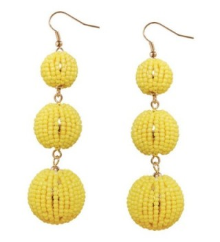 Humble Chic Light Beaded Beehive Dangles Triple Round Ball Statement Drop Earrings - Yellow - C7184CQRX79