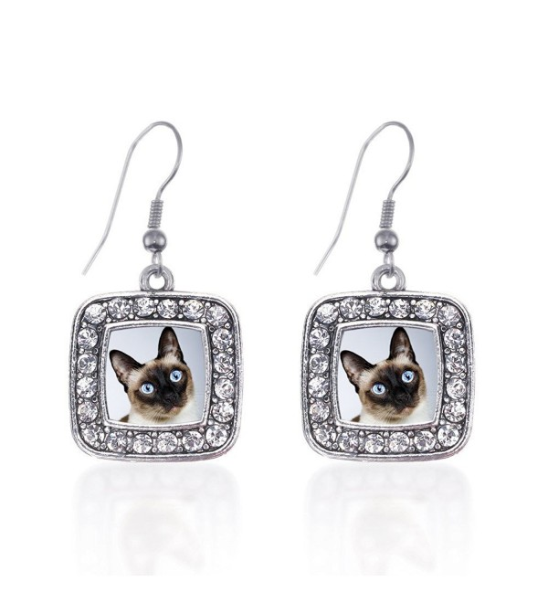 Inspired Silver Siamese Cat Classic Charm Earrings Square French Hook Clear Crystal Rhinestones - CC124J1B079