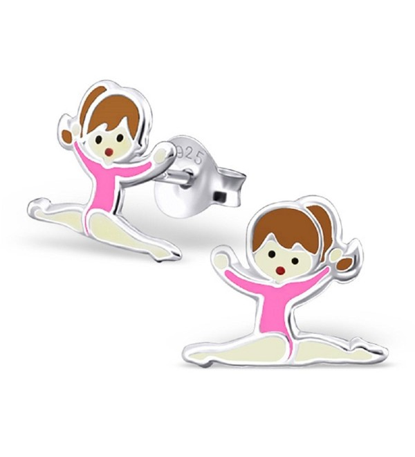 925 Sterling Silver Gymnast w/ Pink Leotard Stud Earrings 18747 - CW12FOTCXAH