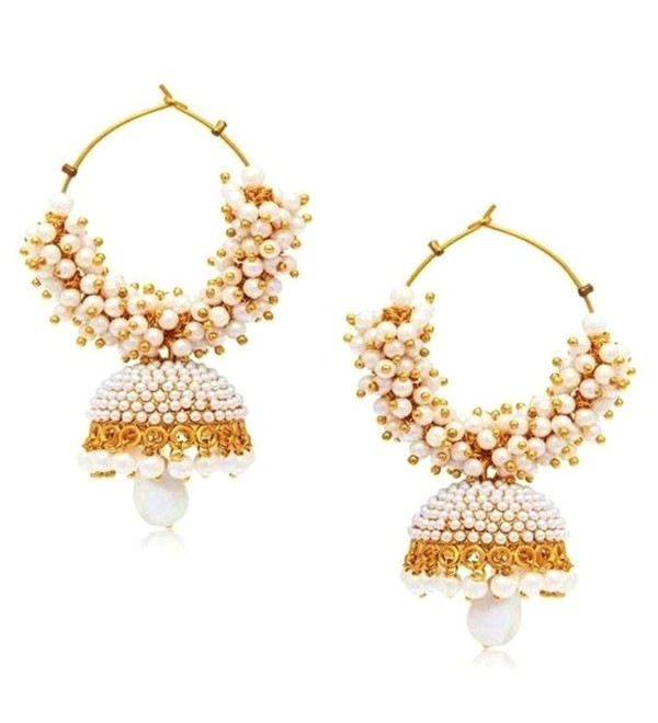 Bollywood Style Party Wear Traditional Indian Jewelry Gold tone Jhumki Jhumka Earrings for Women - CK12O5FKMLB