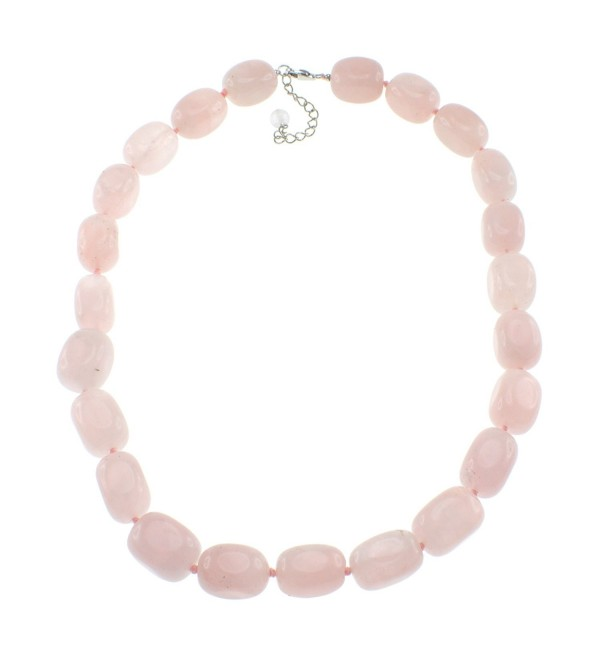 Pearlz Ocean Rose Quartz Beads Strand Necklace for Women with Sterling Silver Clasp - CG11JNHX82Z