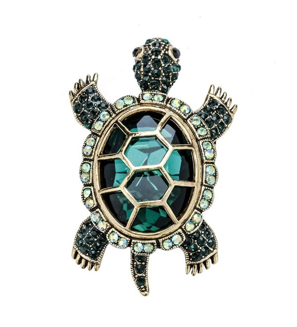 Szxc Jewelry Women's Crystal Big Turtle Pin Brooch Pendant - green - C517YK3Z4RD