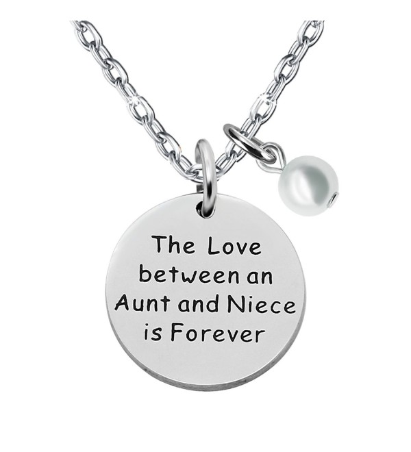 Niece Necklace Aunt Gifts - The love between an aunt and niece is forever Double Pendant Pearl Necklace - CG1895SMXWG