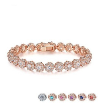 Zirconia Bracelets Diamond Jewelry Christmas - Rose Gold - CB186XQRLN9