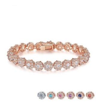 Zirconia Bracelets Diamond Jewelry Christmas - Rose Gold - CB186XQRLN9