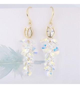 FANZE Gold Tone Gorgeous Multi Bead Swarovski in Women's Drop & Dangle Earrings