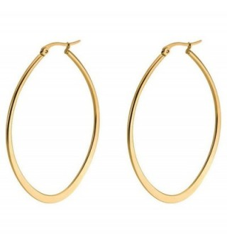 Andyle Stainless Steel Oval Teardrop Hoop Earrings For Women Hypoallergenic Huggie Rose Gold Black Silver - Gold - CJ17YWYMR9G