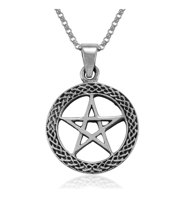 MIMI Sterling Silver Celtic Wiccan Pentacle Pentagram Round Pendant Necklace- 18 inches - CB126ZJWDCT