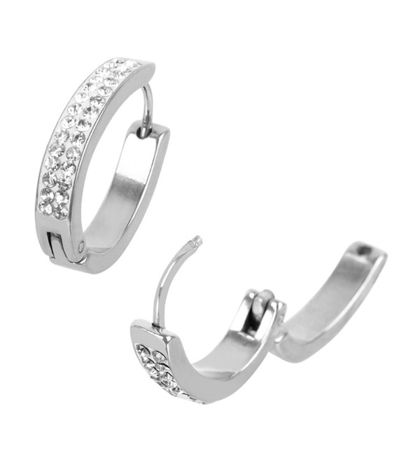 INOX 316L Stainless Steel Large Pear Shaped Huggie Hoop Earrings With Clear Pave Set CZs - C011L3HQL59