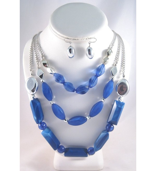 New 3 Row Rhodium Chain Necklace with Blue Beading & Matching Earrings - C511HCIAY4V