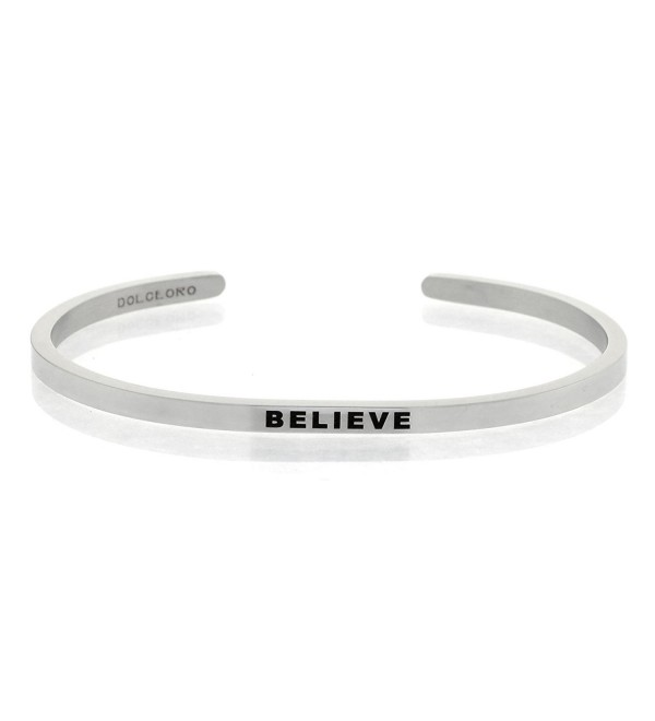 Mantra Phrase: BELIEVE - 316L Surgical Steel Cuff Band - CG12N5IKJ3E