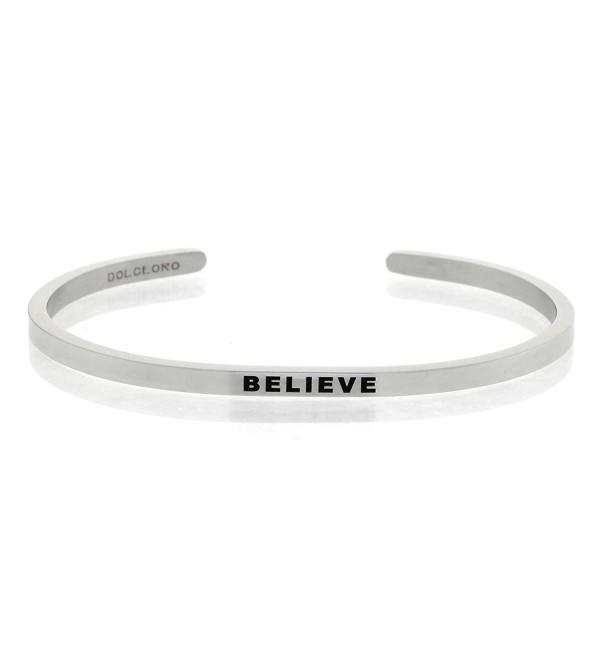Mantra Phrase: BELIEVE - 316L Surgical Steel Cuff Band - CG12N5IKJ3E