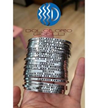 Mantra Phrase BELIEVE Surgical Steel in Women's Cuff Bracelets