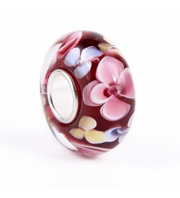 """Red Hawaii Murano Glass and Sterling Silver Bead Charm - """"  1 """" - CI11ZFVTXVD"""