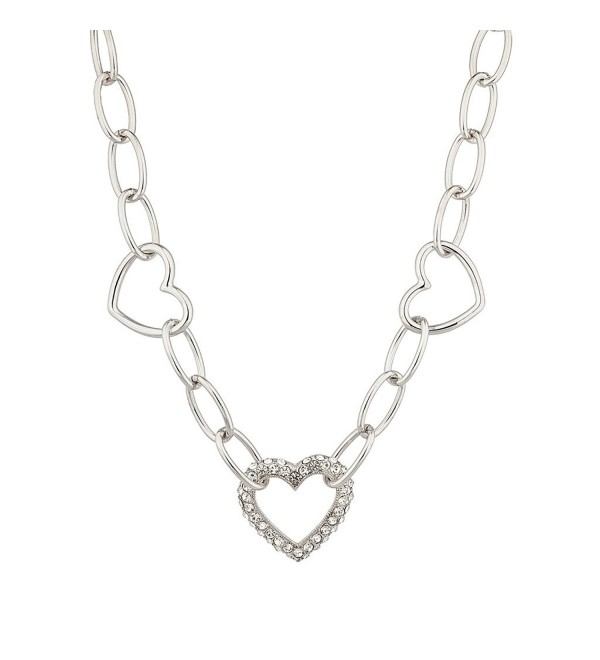 Lux Accessories Pave Crystal Valentine Heart Chain Link Necklace. - CF120ISZZXH