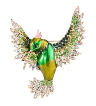 EVER FAITH Women's Austrian Crystal Enamel Lovely Bird Animal Brooch Gold-Tone - Green Gold-Tone - C412K8N4GQJ