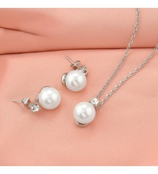 Simulated Crystal Pendant Necklace Earrings in Women's Jewelry Sets