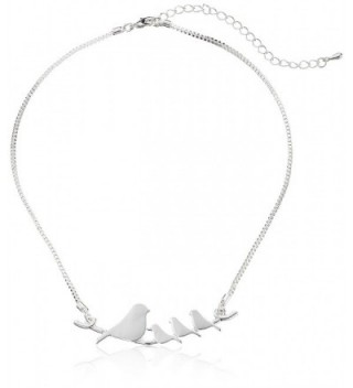 Mother and Baby Birds on a Branch Silver-plated Pendant Necklace - CW11T2IFETF