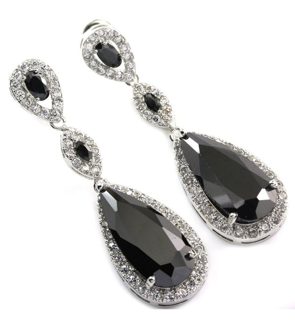 FC JORY Black Dangle Teardrop Crystal White Gold Plated CZ Bridal Wedding Earrings - CQ122FPQ58F