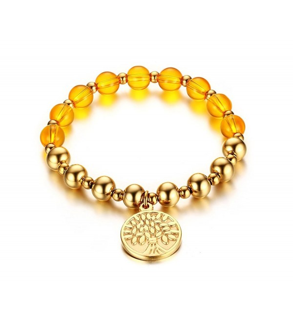 Vnox 18K Gold Plated Stainless Steel Beads Tree of Life Charm Stretch Bracelet - C112MF5I263