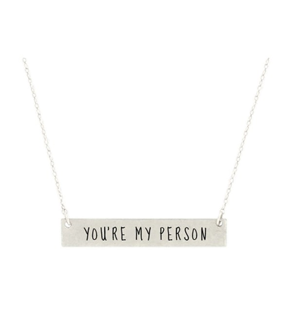 You're My Person Engraved Bar Pendant Necklace Best Friends- BFF Besties - Antique Silver Tone - CQ184AK0Q3I