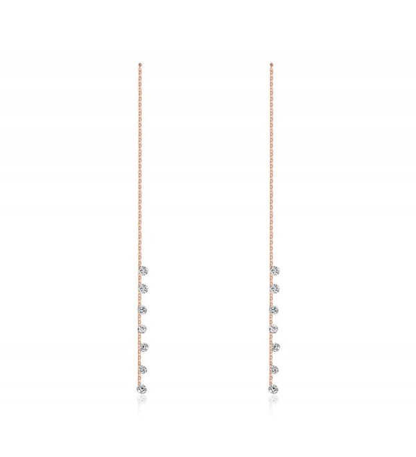 Mealguet Jewelry Elegant Women's Rose Gold Plated Drop Cubic Zirconia Long Chain Threader Dangle Earrings - CZ12I6D29ET