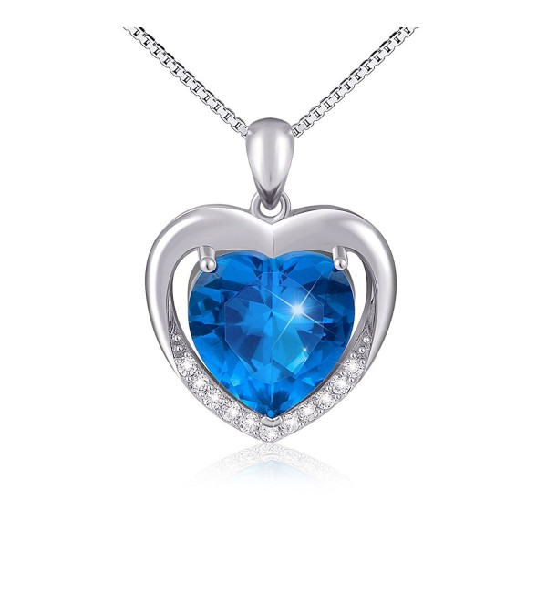Heart Necklace 925 Sterling Silver Blue Heart Cz Forever Love Pendant Necklace for Women - CN12NROKL9W