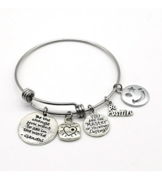Stainless Steel Adjustable Bracelet- Be the Change You Want to See- Handmade in USA- AD13 - CL17YSLZIZS