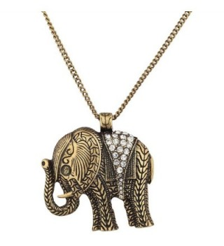 Lux Accessories Burnish Goldtone Boho Elephant Necklace - C812EVA50AT
