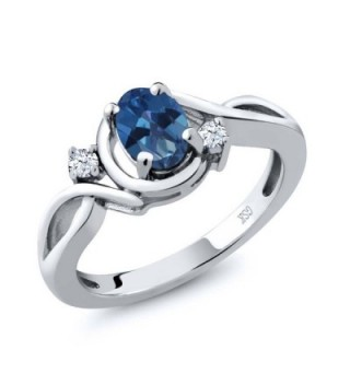 1.03 Ct Oval Royal Blue Mystic Topaz and Topaz 925 Sterling Silver Ring (Available in size 5- 6- 7- 8- 9) - C7117GKZDBP