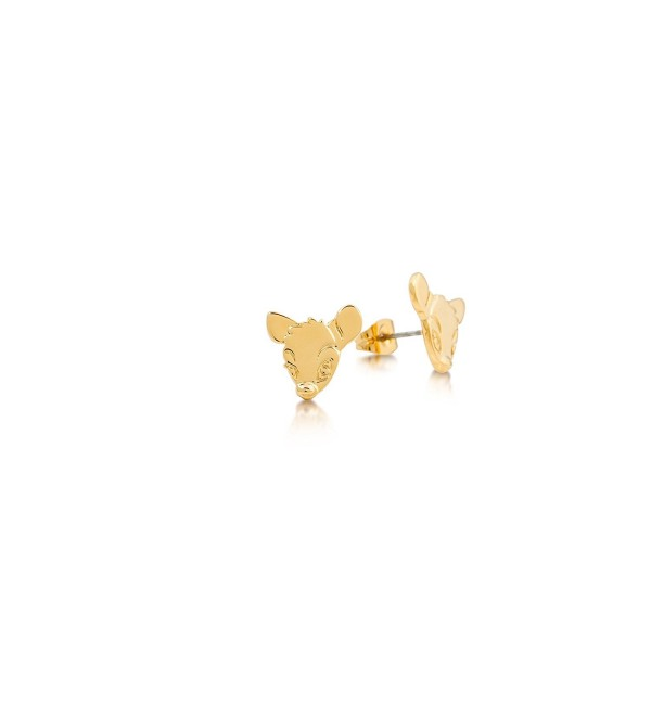 Disney Couture Bambi Face Stud Earrings - Yellow Gold Plated - C911AQUSGB5
