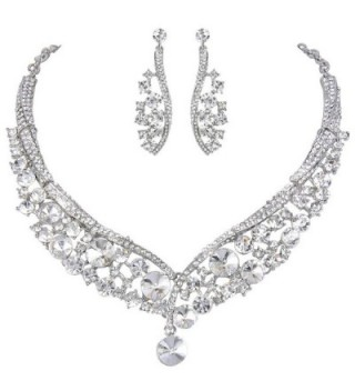 EVER FAITH Round Austrian Crystal Gorgeous V-Shaped Wedding Necklace Earrings Set - Silver-Tone Clear - CH1206VX92F