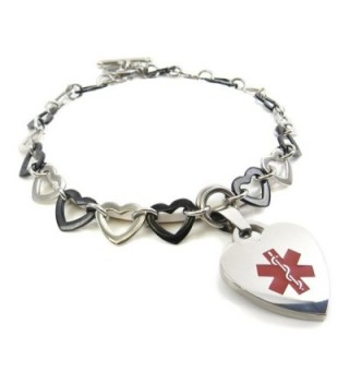 MyIDDr - Pre-Engraved & Customized Women's Insulin Dependent Medical Charm Bracelet- Black Steel Hearts - CK11KGV330J