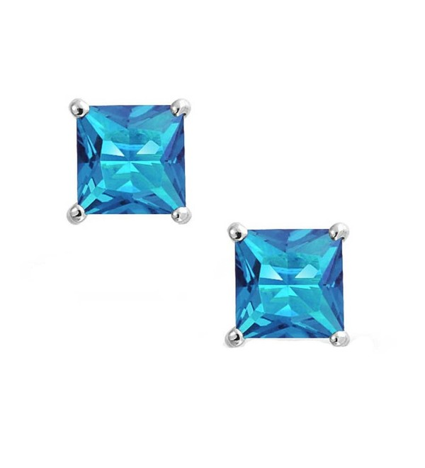 Solitaire Stud Post Earring Princess Cut Simulated Blue Topaz 925 Sterling Silver - CF12MYZTG29