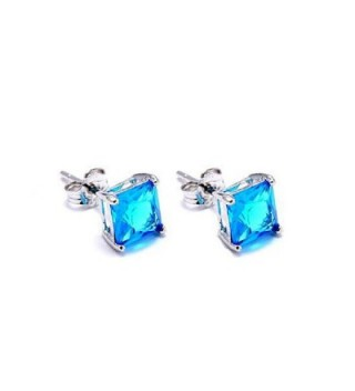 Solitaire Princess Simulated Blue Sterling