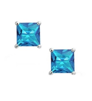 Solitaire Princess Simulated Blue Sterling in Women's Stud Earrings