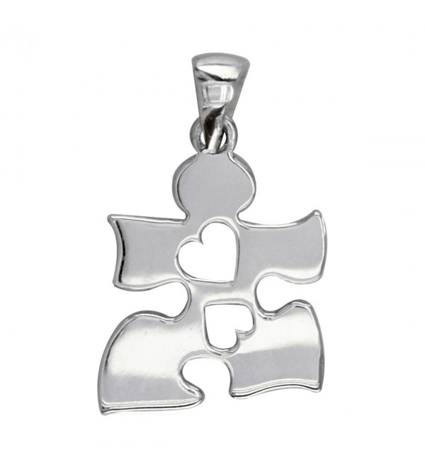 Small Autism Awareness Puzzle Piece Charm with 2 Open Hearts in Sterling Silver 15mm - CX11M4OSXI3