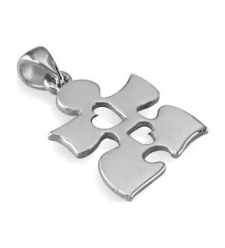 Autism Awareness Puzzle Hearts Sterling