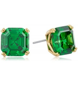 Nicole Miller 10 mm Signature Asscher Prong Stud Earrings - Gold/ Emerald - CE12OBGYGP7