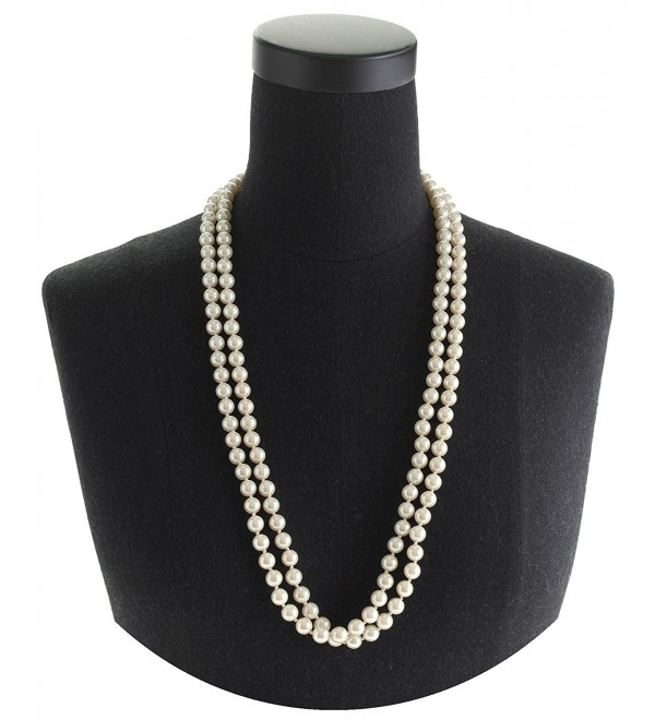 "Cream Pearl Necklace Set 60"" Long Knotted 8mm Elegant Opera Style Boxed (136) - C1121NYKJB3"