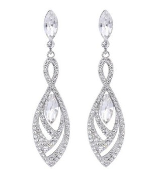 BriLove Gorgeous Chandelier Teardrop Silver Tone - Silver-Tone Clear - CG122L5DOQF