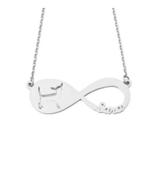 Personalized Infinity Chihuahua Necklace Memorial - Silver - C018880ZI6H