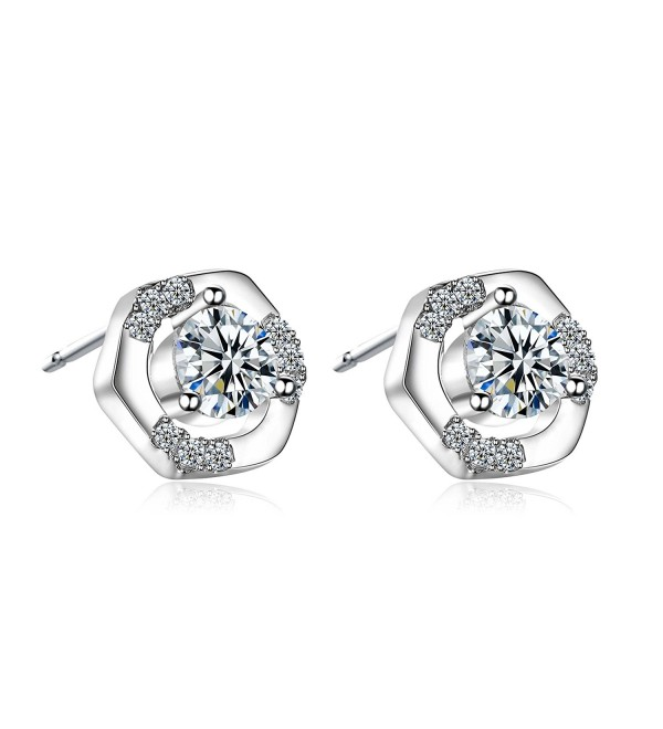 18k White Gold Stud Earrings Classic Style Zirconia Diamond Elegant By CONNIE.Y - CP186ZEGQH8