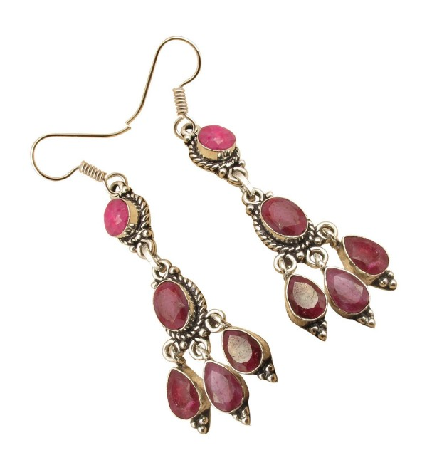 925 Silver Plated Facetted RUBY GIRLS' RED Earrings JEWELRY From India Jaipur - C912O6XJ99K