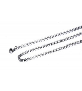 Stainless Steel Cable Chain Necklace for Men Women Pendant Accessory Chain 2.0mm-20 Inches - CJ12571ITUV